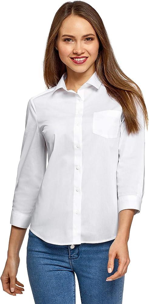 oodji Ultra Mujer Camisa con Mangas 3/4 y Bolsillo en el Pecho, Blanco, ES 34 / XXS: Amazon.es: Ropa y accesorios
