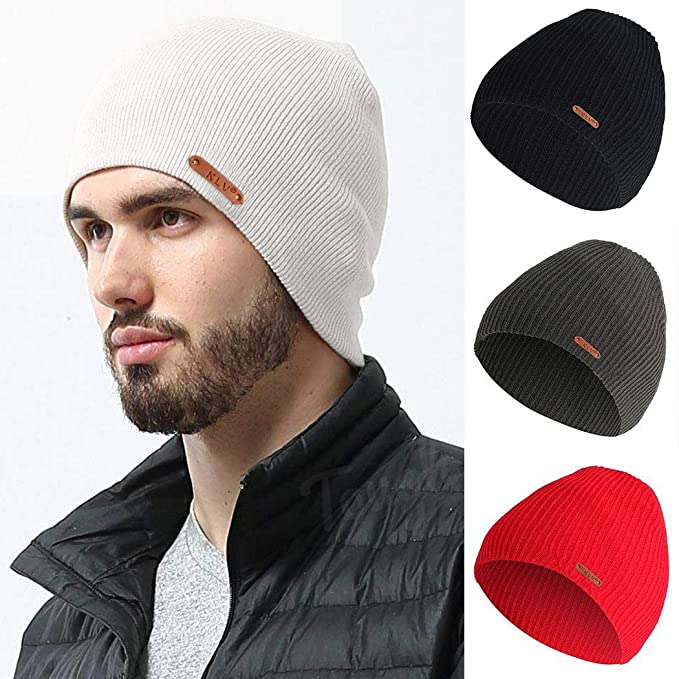 melysEU Unisex Daily Knit Ribbed Beanie Winter Warm Solid Copricapo  Elastico Caldo Beanie Hats per Uomini bead44f5b5a8