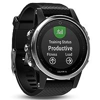 Garmin Fenix 5S Plus Smartwatch Multisport con Mappe GPS, Musica e Pagamento Contactless, Glass 42 mm, Silver con Cinturino Nero