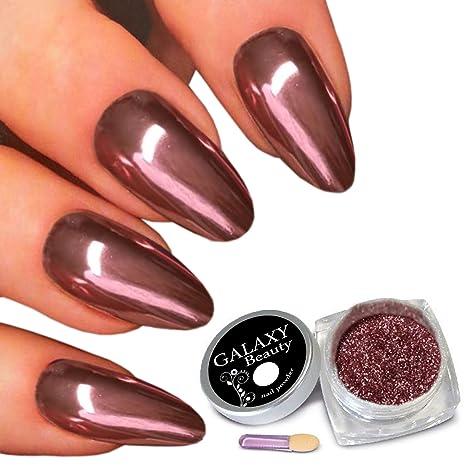Galaxy belleza real rosa oro rosa efecto Espejo Uñas Glitter polvo de cromo Super Shine pigmento. Pasa ...