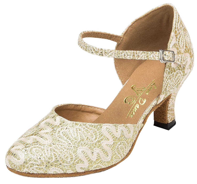 Abby YFYC-L160 Womens Professional Fashion Latin Tango Cha-Cha Kitten Heel Satin Dance Shoes