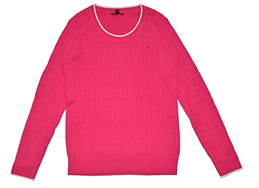 Tommy Hilfiger Womens Crew Neck Cable Knit Sweater (M, HOT PINK ...