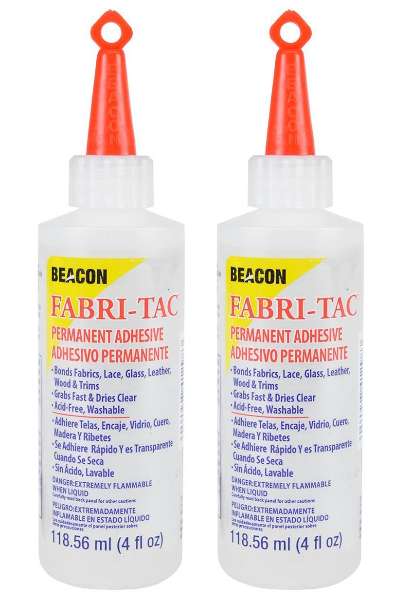 Twin-Pack of Beacon Fabri-Tac Permanent Adhesive, 4 Ounce THE GLUE GUN IN A BOTTLE !