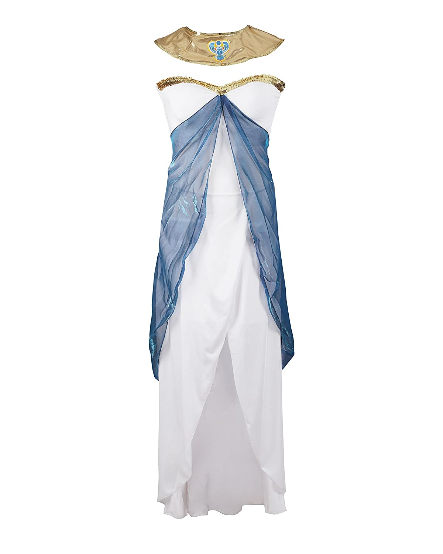 Traje de fantasía de Cleopatra de Emmas Wardrobe - Incluye vestido sin tirantes blanco, cinturón, tocado y pieza del cuello - Traje de diosa griega o ...