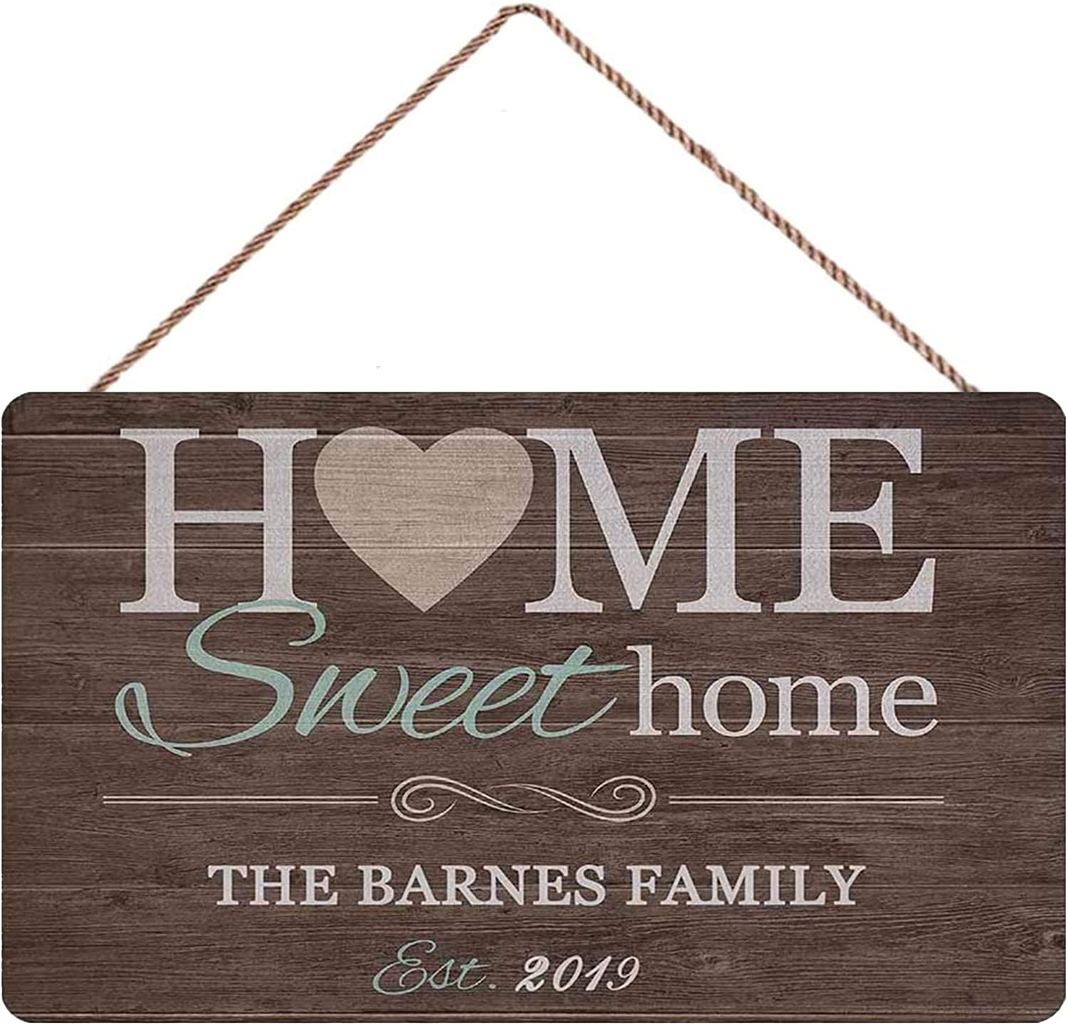 Gxiliru Personalized Home Sweet Home Sign Custom Welcome Home Decor Sign Wall Plaque House Warming Presents Gifts for New Home Wooden