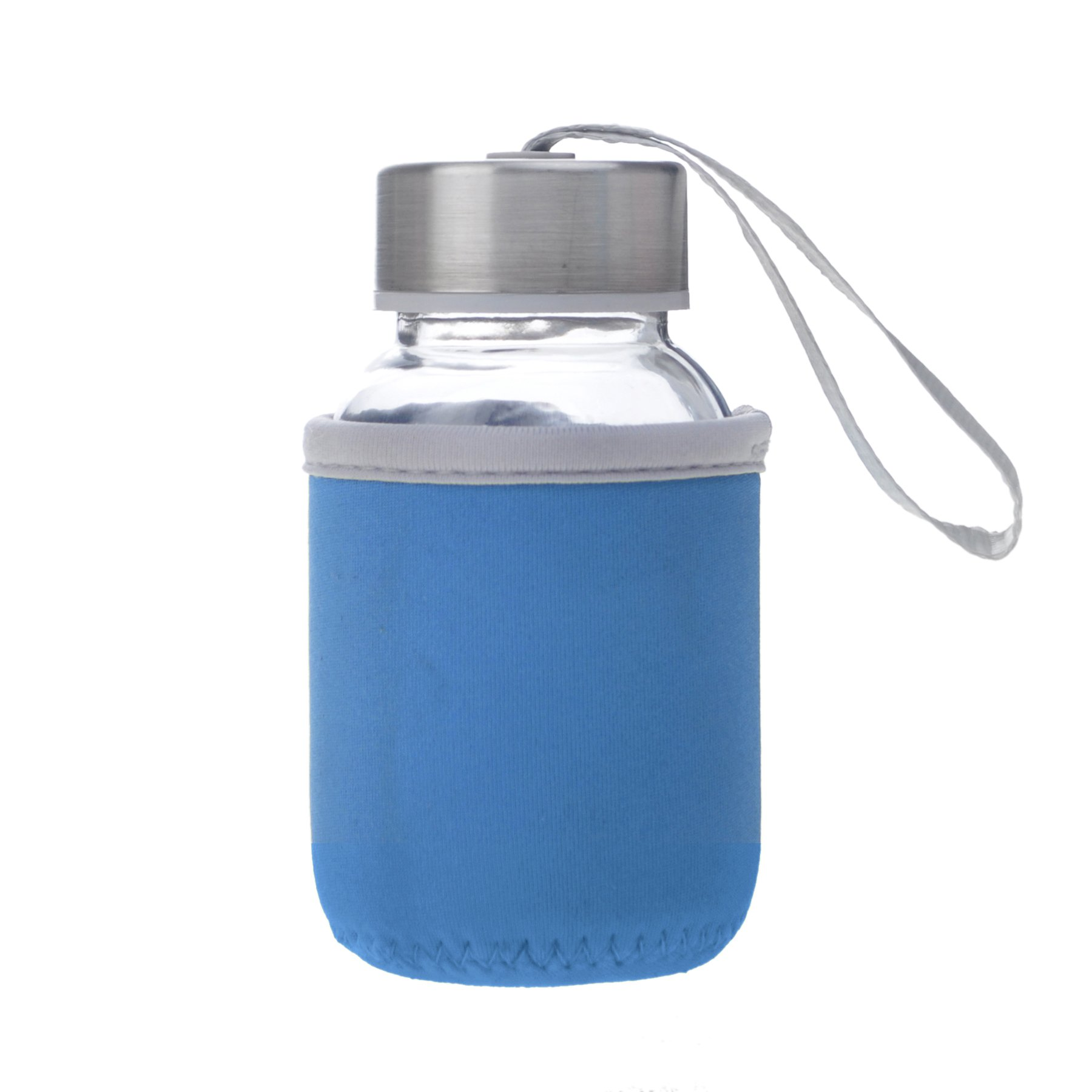 Aspire 5oz Premium Glass Water Bottle with Insulated Sleeve, Stainless Steel Caps with Carrying Loop, Wide Mouth Leakproof Drink Bottles, for Kids-Blue