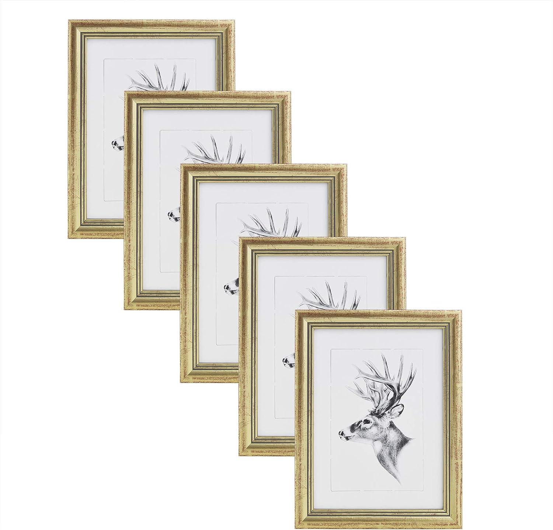 WOLTU Cadre Photo Lot de 5 Artos Style 10x15cm Cadre en Bois et Verre d/écoration Maison Naturelle 9404-5