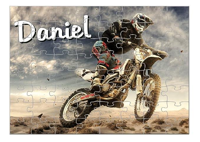 Puzzle Moto personnalisé avec prénom 35,70 ou 96 pièces