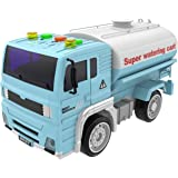 Watering Truck Toy Friction Powered Car Vehicle Toys Truck for Kids with Lights and Sound with 4 Wheels and Water Breaker 1:20 Advanced Simulation Model-Road Administration Series Blue and White