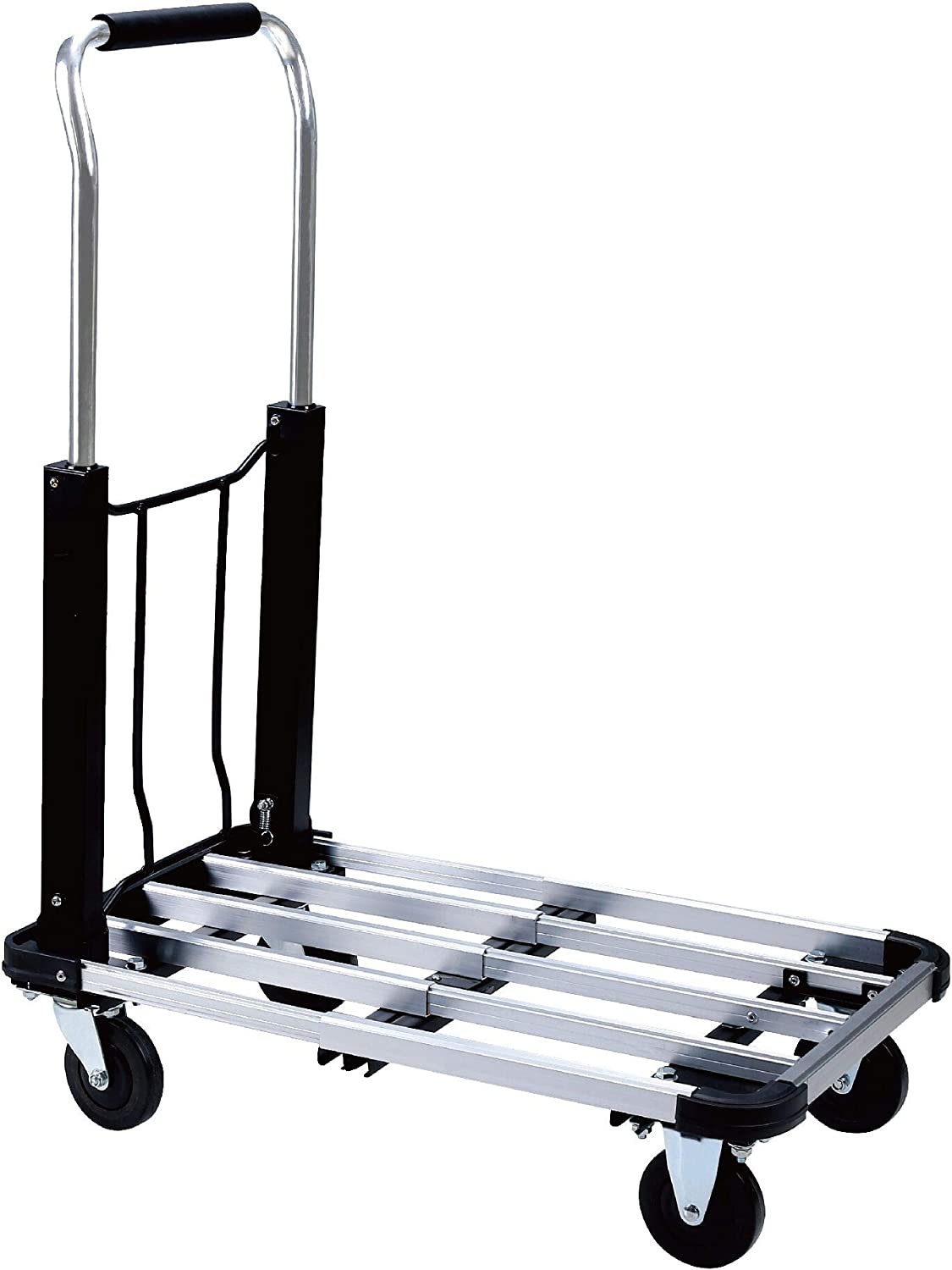 Foldable Push Cart Aluminum Alloy Platform Cart with 4-Wheel, 330-LB Capacity