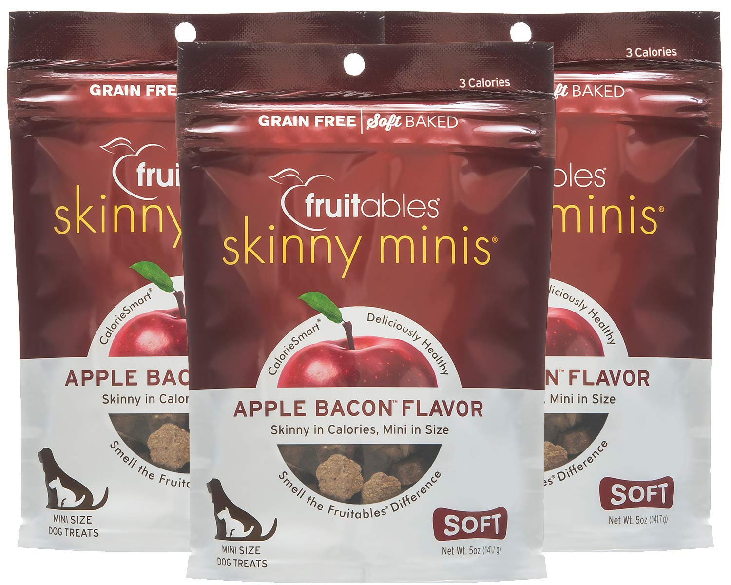 Fruitables Skinny Minis Grain Free Soft Dog Treats Apple Bacon Flavor 3 Pack 5 oz Each