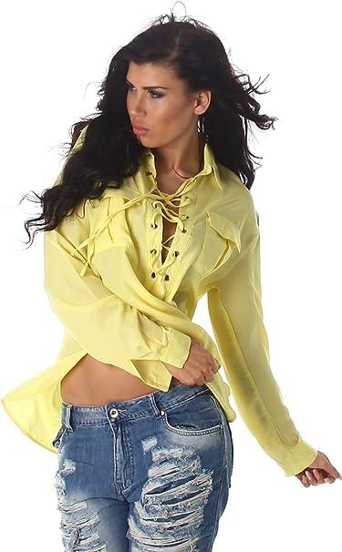 Voyelles camisa de las señoras blusa de la camisa blusas túnica de manga larga cuello suéter túnica blusa Uni: Amazon.es: Ropa y accesorios
