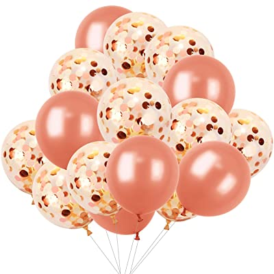 Hestya 16 Pieces 12 Inches Rose Gold Balloons Decorations Including 10 Pieces Confetti Balloons Rose Gold Balloons with Golden Light Pink and White Paper Confetti Dots, 6 Pieces Rose Gold Latex Balloo: Toys & Games