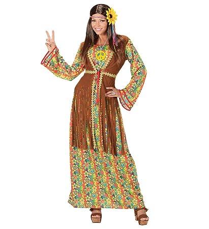 Hippie Damen Kostüm Kleid Stirnband und Kette 60er 70er Jahre Flower Power Piece
