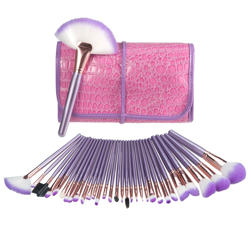 Makeup Brush Set, USpicy 32 Pieces Professional Makeup Brushes Essential Cosmetics With Case, Face Eye Shadow Eyeliner Foundation Blush Lip Powder Liquid Cream Blending Brush-Purple