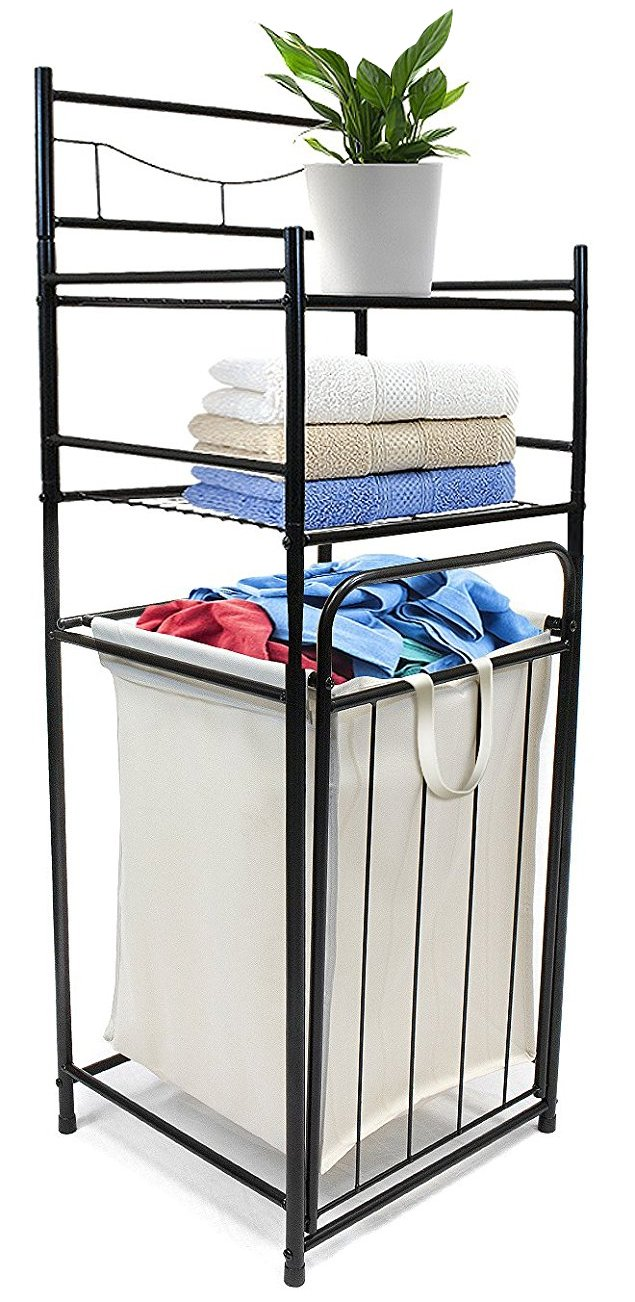 Sorbus Bathroom Tower Hamper - Features Tilt Laundry Hamper and 2-Tier Storage Shelves - Great for Bathroom, Laundry Room, Bedroom, Closet, Nursery, and More by Sorbus
