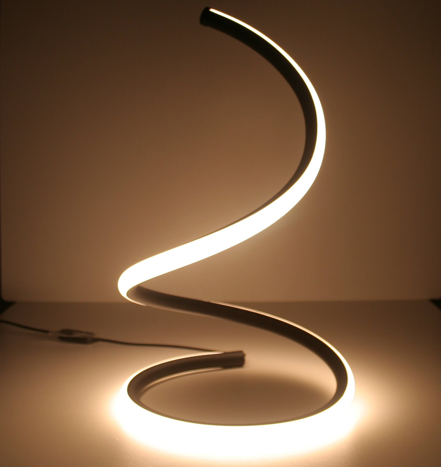 awesome cool spiral curved led table lamp minimalist. Black Bedroom Furniture Sets. Home Design Ideas