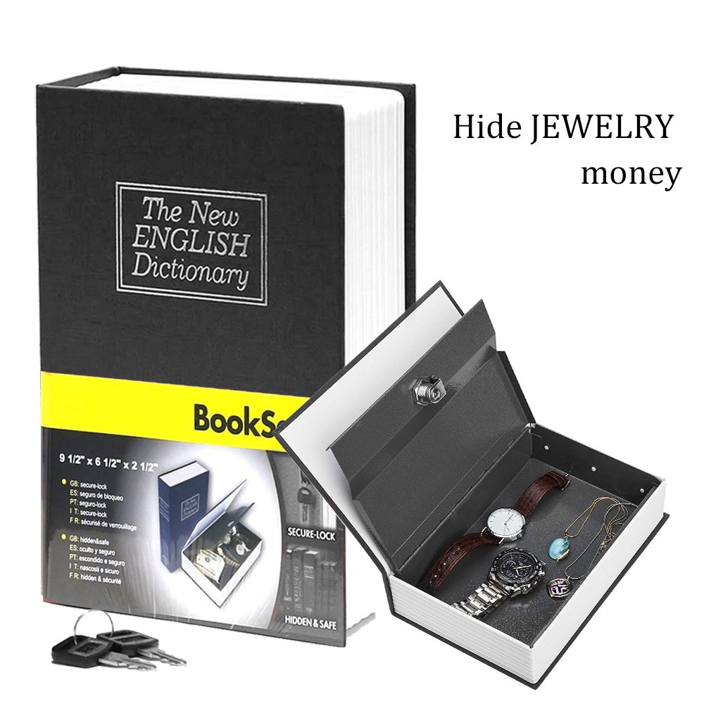 Book Safe with Metal Lock Box - HENGSHENG New English Dictionary fit Hidden Home Diversion Secret Book Safe Portable Travel Box with Key Lock Box Safe - Small Black