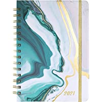 """Planner 2021 - Weekly & Monthly Planner with Tabs, 6.5"""" x 8.5"""", Hardcover with Thick Paper + Back Pocket + Banded, Twin…"""