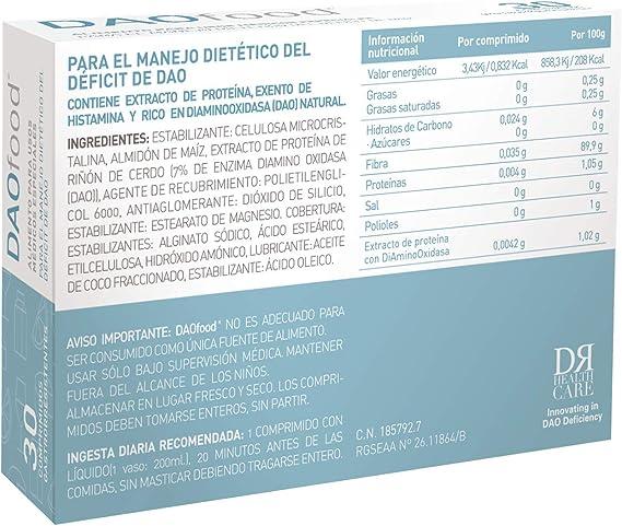Dr-Healthcare DAOfood Alimento para el Manejo Dietetico del Déficit de Dao, 30 Comprimidos