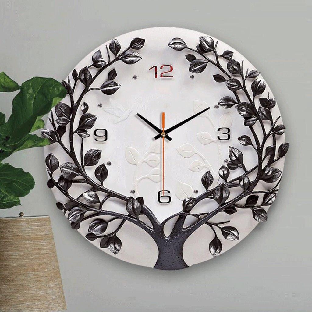 GAOLILI 装飾的な時計リビングルームファッション三次元時計ラウンド樹脂の壁時計ベッドルームミュートクォーツ時計 ( 色 : ブラック ) B07C3R2Z7Q ブラック ブラック