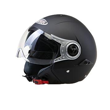 Amazon.es: Viper RSV18 Casco Jet Motocicleta Bicicleta Cascos Abiertos de Moto con Doble Visera Blanco M(57-58cm)