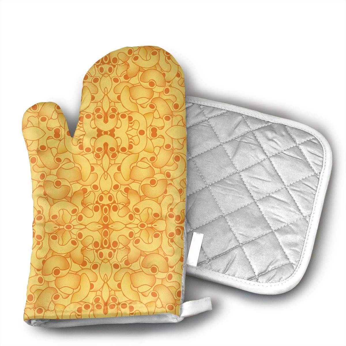 QEDGC Macaroni and Cheese Grill Oven Gloves ¨C Heat Resistant Gloves ¨C BBQ Gloves for Cooking, Grilling, Baking