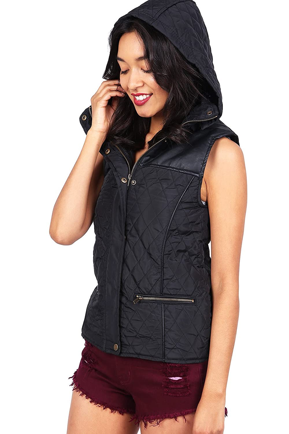 ce074a26ee1c Ambiance Women's Lightweight Cozy Quilted Hooded Vest (M, Jet Black) at Amazon  Women's Coats Shop