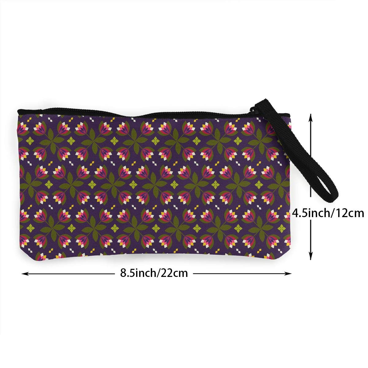 Floral Flowers Pattern Canvas Coin Purse Assorted Change Cash Bag With Zip