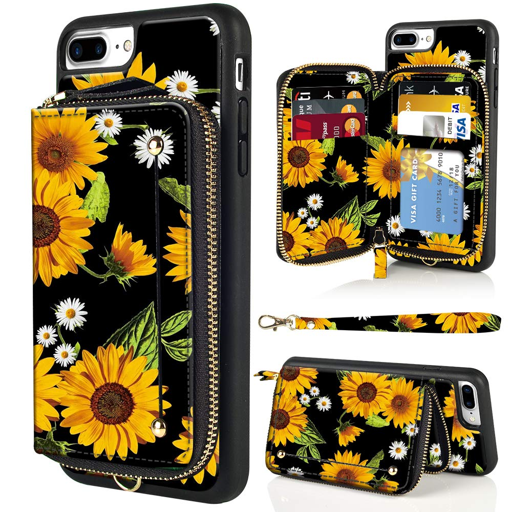 LAMEEKU iPhone 8 Plus Case, iPhone 7 Plus Wallet Case, Floral Flower Sunflower Design Zipper Leather Card Holder Case with Shockproof Protective Cover for iPhone 7 Plus/8 Plus-Sunflower4 by LAMEEKU