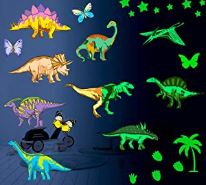 Dinosaur Wall Decals for Boys Room,Dinosaur Wall Stickers Glow in The Dark Dinosaur Room Decorations,Large Removable Bedroom Decor for Kids Girls,Cool Kids Birthday Christmas 83pcs