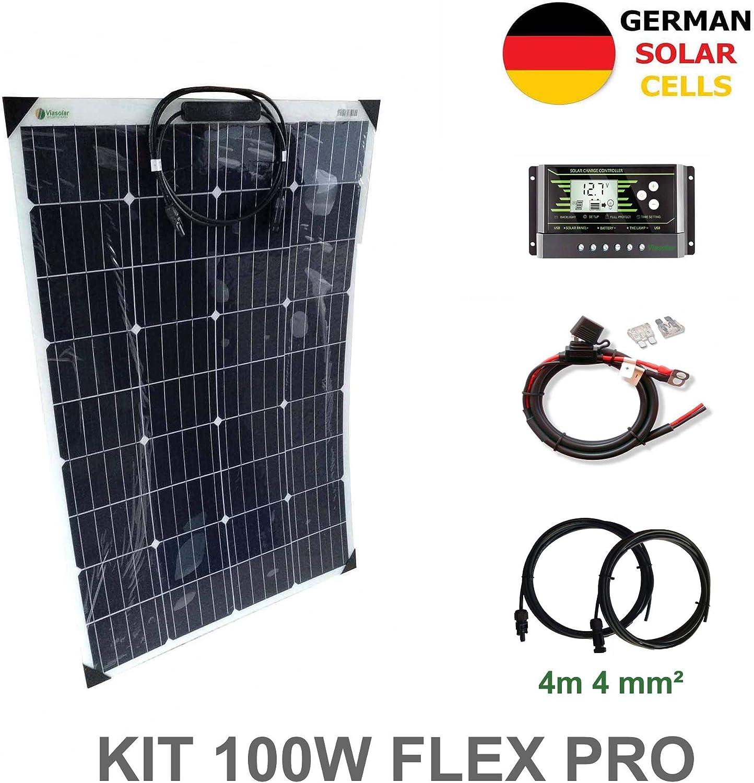 VIASOLAR Kit 100W Flex Pro 12V Panel Solar Semi-Flexible células alemanas