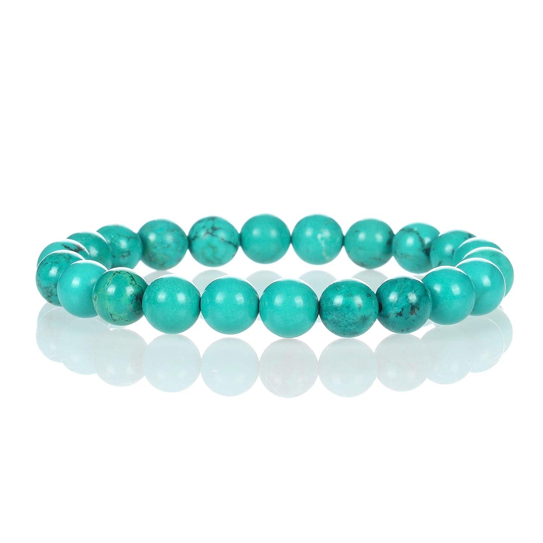 Cherry Tree Collection Natural Semi-Precious Gemstone Beaded Stretch Bracelet 8mm Round Beads 7