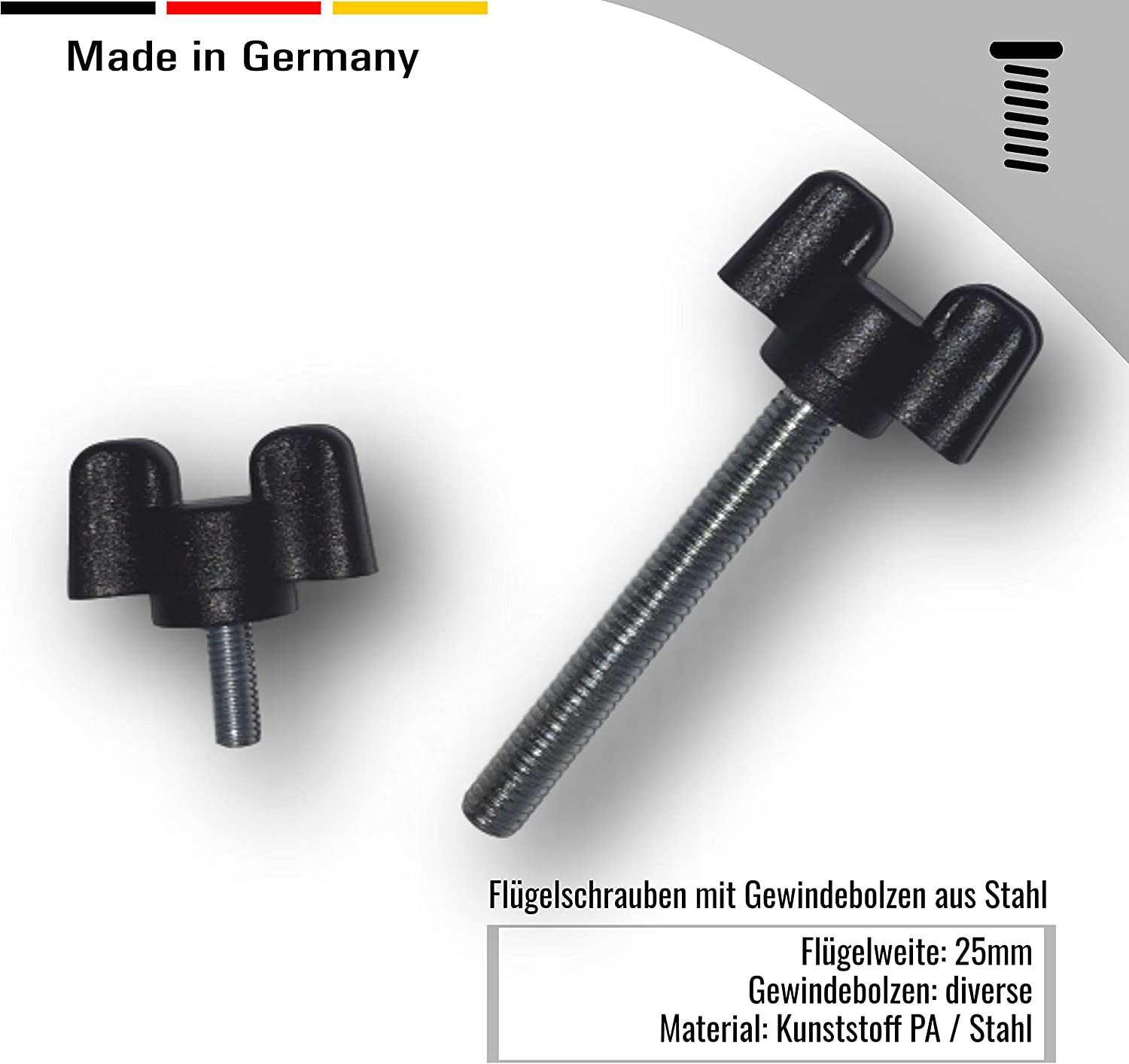 2 wing screws plastic with threaded bolts made of steel