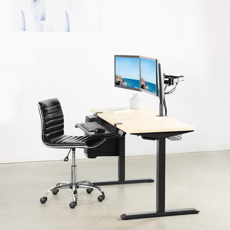 VIVO Moniteur Noir Triple Bureau réglable de Montage - Support articulé tri Tient Trois écrans jusqu'à 24