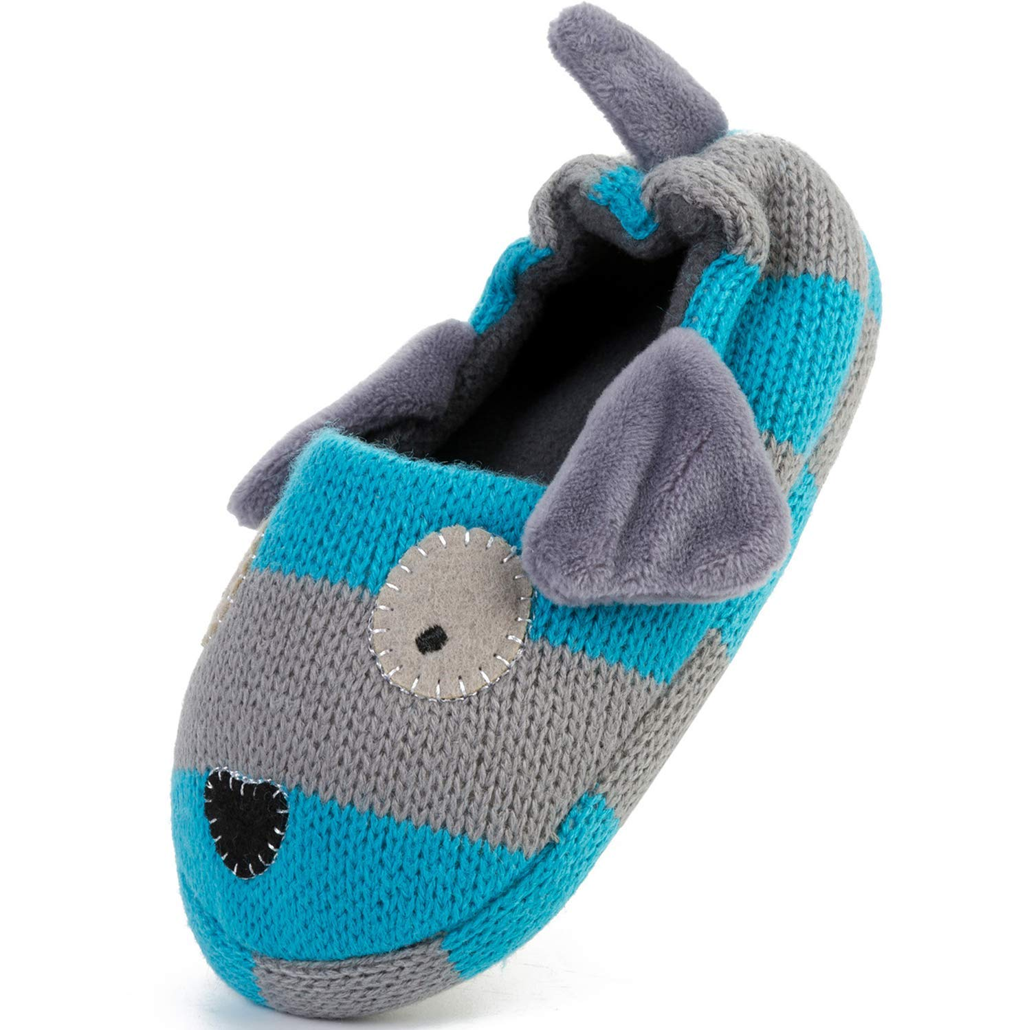 FEETCITY Toddler Boys' Doggy Slipper Cartoon Puppy Crochet Shoes Size 7.5-8