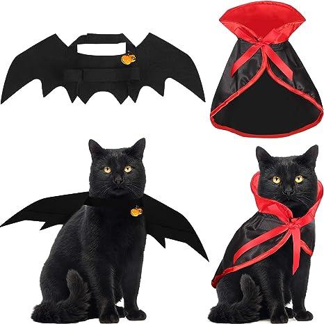 Boao 4 Piezas Disfraz de Gato de Halloween con alas de murciélago ...