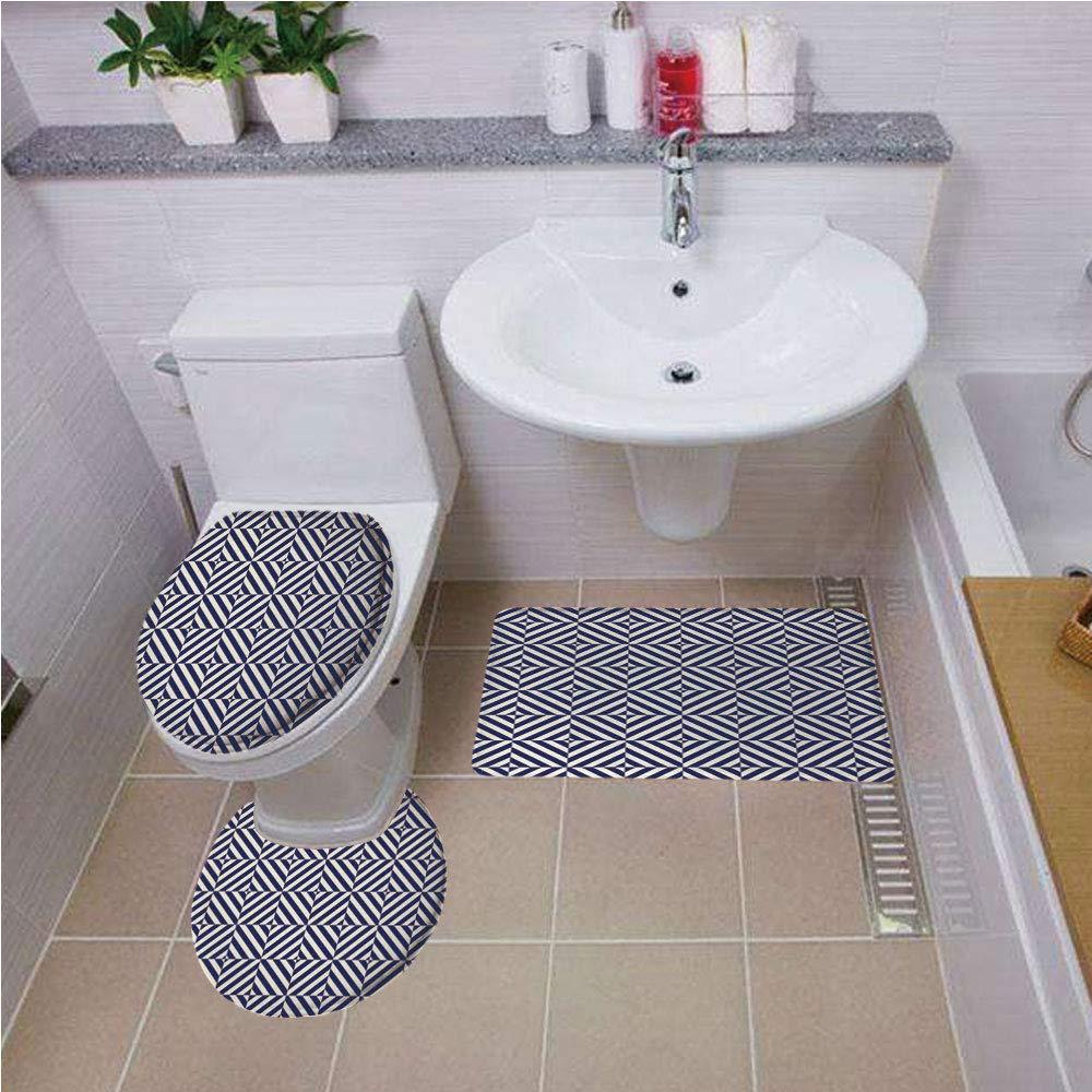 Iprint fashion bathroom rug setnavy blue decorsymmetric and asymmetric geometric pattern design imagedark blue light blue and whitebath mat set round