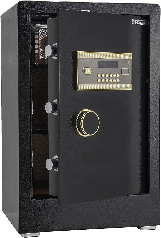 Electronic Digital Home Safe Box, Double Safety Key Lock and Password Safes, Medium Safe Deposit Keypad Box for Home Office Hotel, Jewelry Passport Cash Money Gun Cabinet Safe, 3.47 Cubic Feet, Black