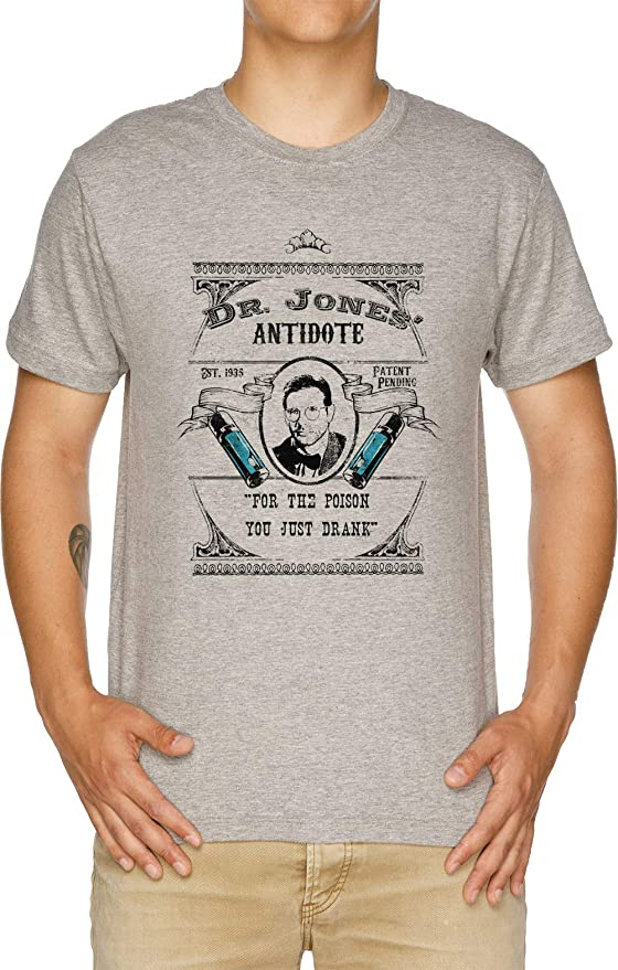 Vendax Dr Jones Antídoto- Indiana Jones Camiseta Hombre Gris: Amazon.es: Ropa y accesorios