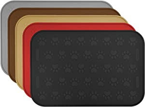 "SmithBuilt 24"" x 16"" Large Dog Food Mat - Waterproof Non-Slip FDA-Grade Silicone Cat Pet Bowl Feeding Placemat"