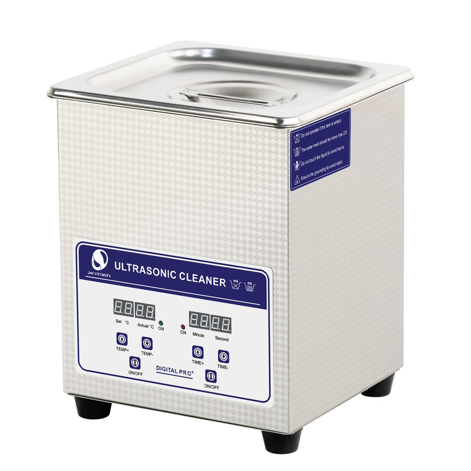 SKYMEN Ultrasonic Cleaner 2L Ultrasonic Jewelry Cleaner with Timer and Heater Adjustable, Stainless Steel Ultra sonic Cleaner Machine for Cleaning Jewellry Eyeglasses Watchband Denture Metal Parts etc Ltd JP-010S-EU-220V