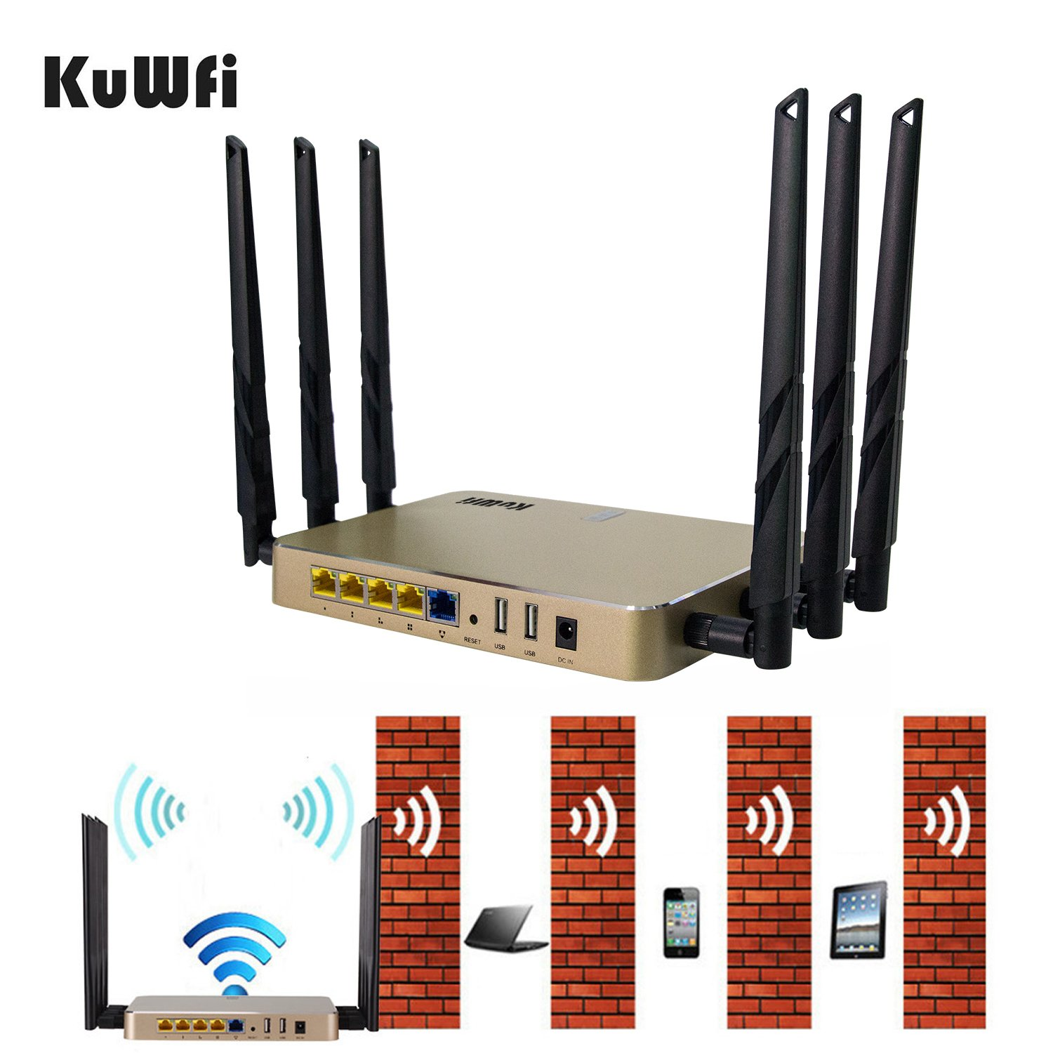 KuWFi High Power Wireless Gigabit Router, wireless Gigabit Access Point 802.11 ac router 1200Mbps Cover Long Area Support more than 100Users easy to Use Through walls 2000mW 128M DDR2 RAM for Home