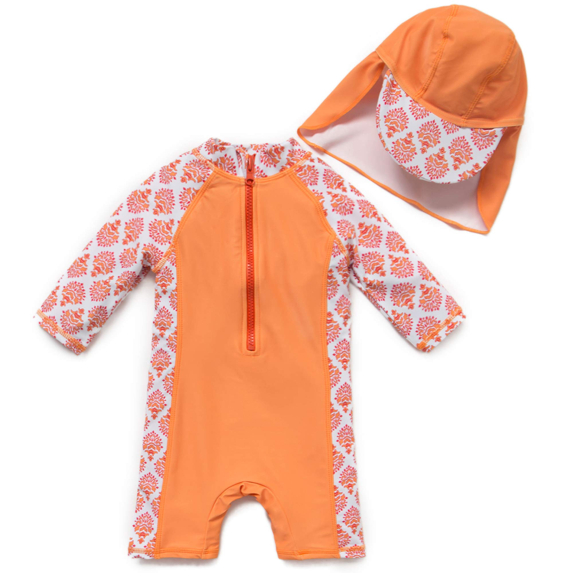 upandfast Kids One Piece Zip Sunsuit with Sun Hat UPF 50+ Sun Protection Baby Swimsuit (Orange(3/4 s), 3-6 Months) by upandfast