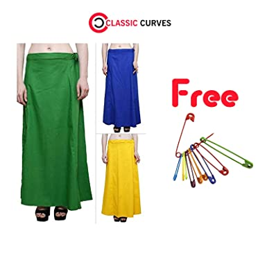CLASSIC CURVES Indian Womens 100 Pure Cotton Lining Saree Underskirt For Wear And Pack