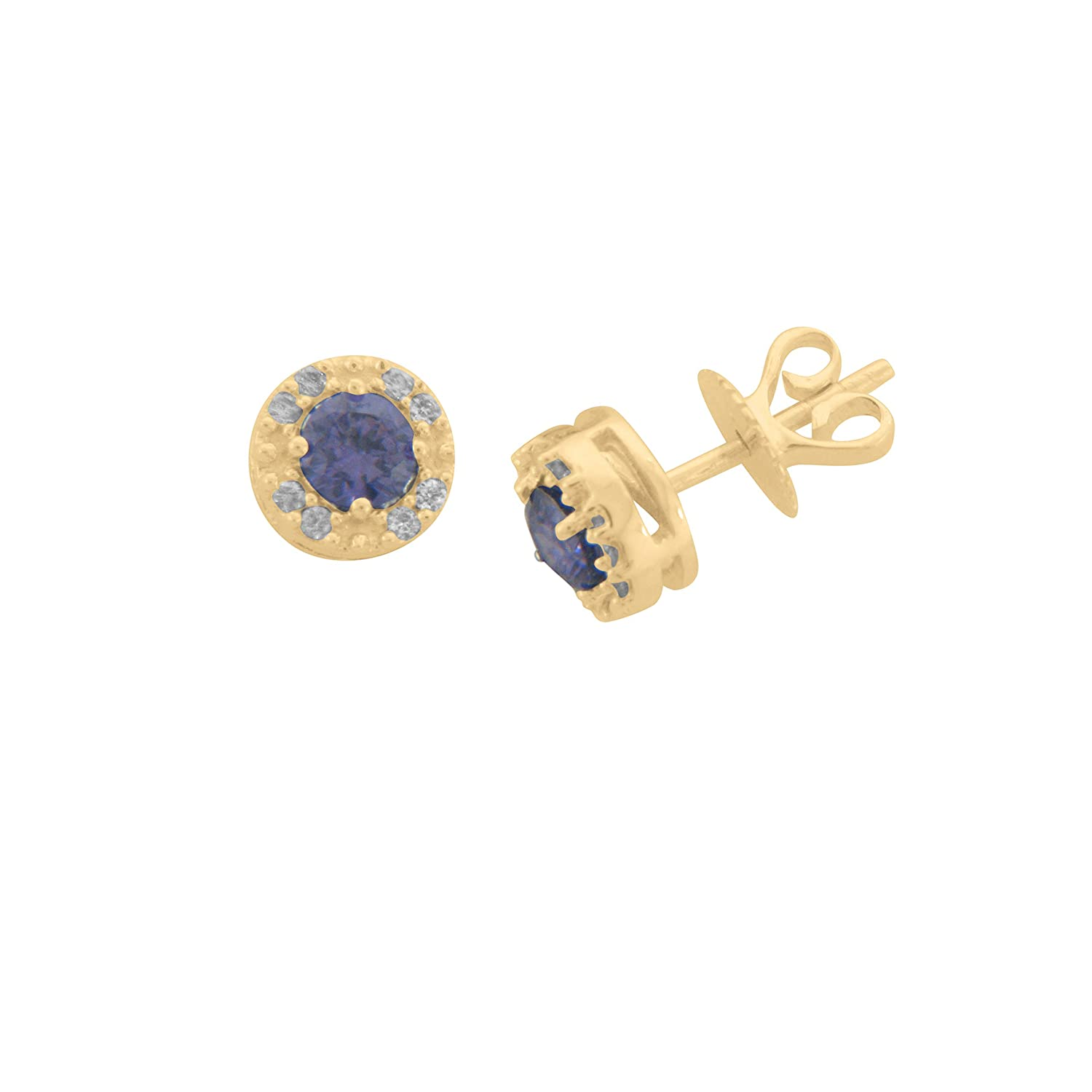 DTJEWELS 0.58 Cts Sim Diamonds /& Sapphire Round Shape Stud Earrings For Girls In 14K Gold Plated 925