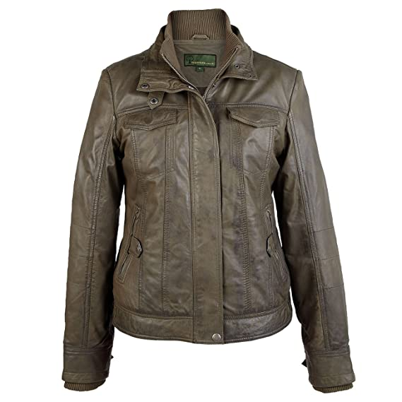 hot-selling classic limited price Bella: Ladies Olive Green Leather Jacket, M, Olive: Amazon ...
