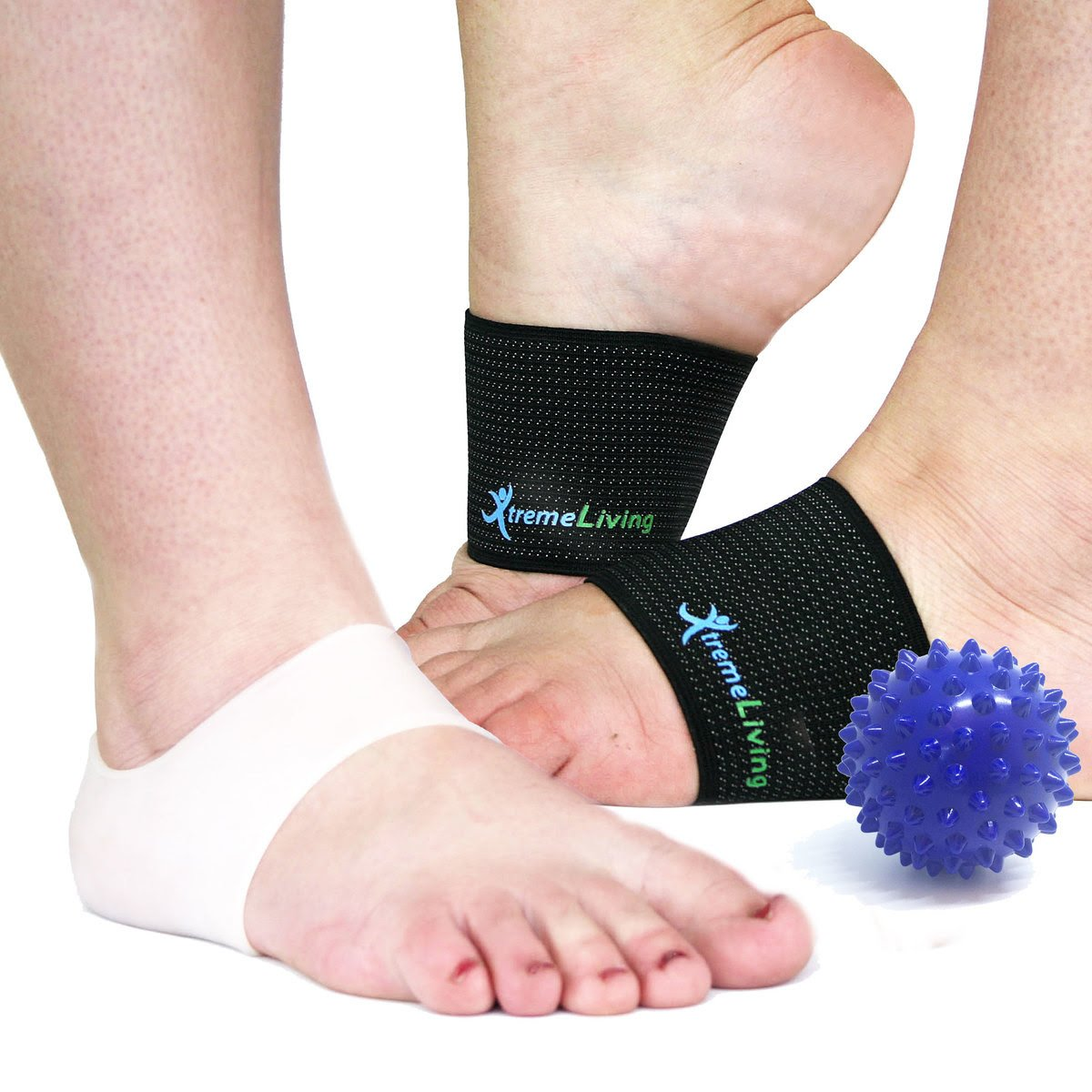 Plantar Fasciitis Compression Arch Support, 2 Arch Sleeves, 2 Gel Heel Sleeves, Massage Ball, 5pc Set