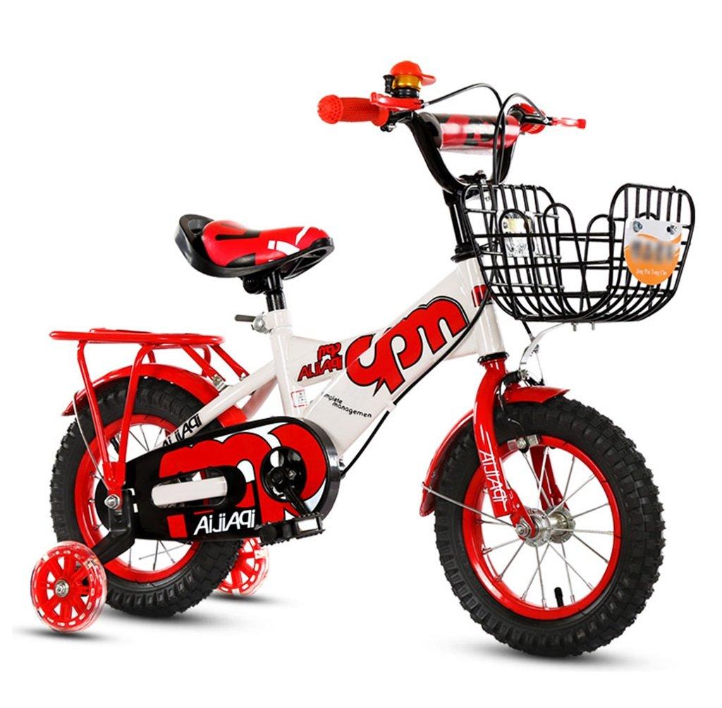 子供の自転車12|14|16|18インチアウトドアの子供ベイビーキッドマウンテンバイクフラッシュトレーニングホイールで2歳から10歳の男の子の女の子の贈り物|アイアンバスケット|バックシート調節可能セーフロード100KGレッド B078GQS5DH 16 inches