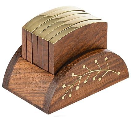 Posavasos de madera con 6 posavasos de mesa y soporte decorativo de madera para tazas de